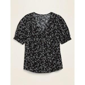 Shirred Smocked-Sleeve V-Neck Blouse for Women