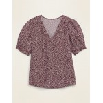 Shirred Smocked-Sleeve V-Neck Blouse for Women