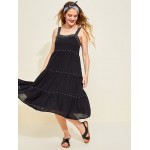 Tiered Embroidered Midi Swing Dress for Women