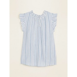 Smocked-Neck Striped Gauze Blouse for Women