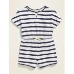 Striped Pom-Pom-Trim Romper for Toddler Girls