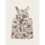 High-Neck Sleeveless Printed Pom-Pom-Trim Top for Girls