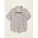 Linen-Blend Cargo-Pocket Shirt for Toddler Boys