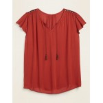 Tie-Neck Crinkle-Crepe Plus-Size Swing Blouse