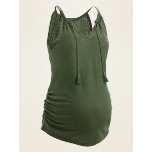 Maternity Linen-Blend Jersey Tie-Neck Tank Top
