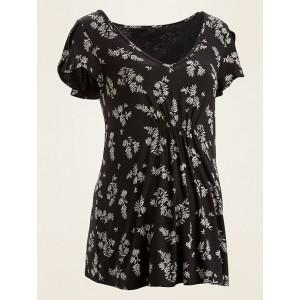 Maternity Bump-Skimming Jersey Petal-Sleeve Top