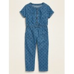Short-Sleeve Chambray Utility Jumpsuit for Toddler Girls
