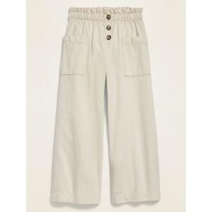 Paperbag-Waist Wide-Leg Pants for Girls