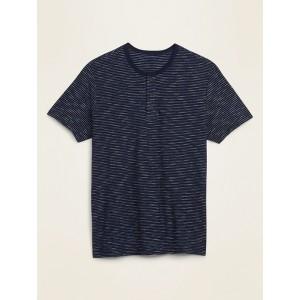Soft-Washed Slub-Knit Chalk-Stripe Henley Tee for Men