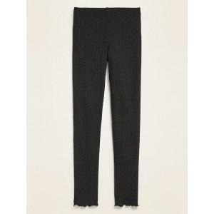 Full-Length Rib-Knit Lettuce-Trim Leggings for Girls