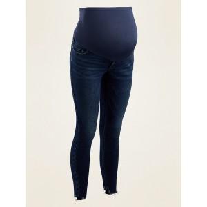 Maternity Full-Panel Rockstar Super Skinny Cut-Off Jeans