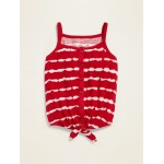 Button-Front Tie-Hem Tank Top for Toddler Girls