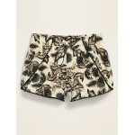 Printed Pom-Pom-Trim Tulip-Hem Shorts for Toddler Girls