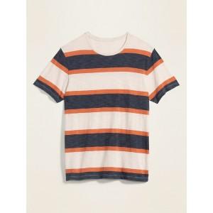 Soft-Washed Striped Slub-Knit Tee for Men