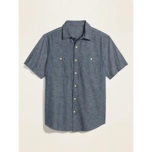 Utility-Pocket Cotton Short-Sleeve Shirt for Men