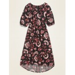 Printed Tiered Midi Dress for Girls