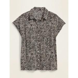 Printed Slub-Weave Short-Sleeve Shirt for Women