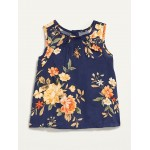 Sleeveless Floral A-Line Top for Toddler Girls