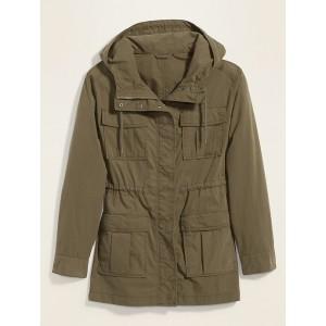 Long Hooded Utility Jacket for Women