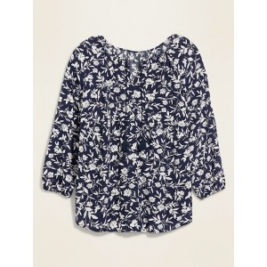 Printed Tie-Neck Plus-Size Swing Blouse