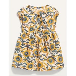 Sunflower-Print Button-Front Shirt Dress for Baby