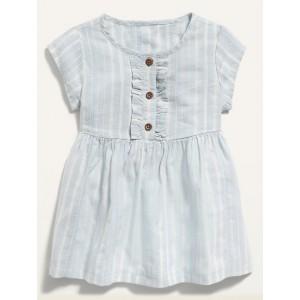 Striped Ruffle-Trim Shirt Dress for Baby