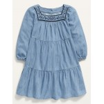 Embroidered Square-Neck Tiered Chambray Dress for Toddler Girls