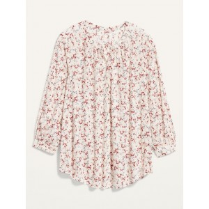 Oversized No-Peek Button-Front Plus-Size Floral-Print Top