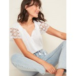 Relaxed Tie-Neck Crochet-Lace Sleeve Blouse for Women