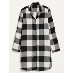 Buffalo Plaid Flannel Nightgown for Women