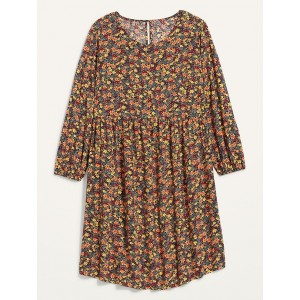 Floral-Print Bracelet-Sleeve Plus-Size Swing Dress