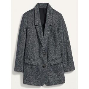Oversized Soft-Brushed Tweed Plus-Size Blazer
