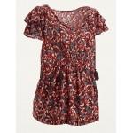 Maternity Floral-Print Tie-Neck Flutter-Sleeve Blouse