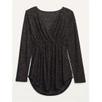 Maternity Plush-Knit Cross-Front Nursing Top