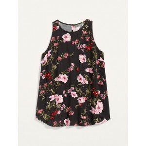 Floral-Print High-Neck Plus-Size Sleeveless Top
