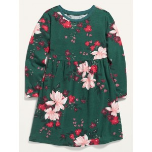 Fit & Flare Long-Sleeve Jersey Dress for Toddler Girls