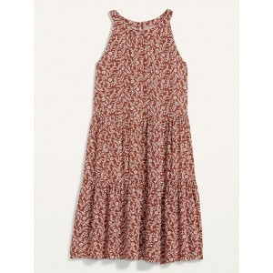 Printed Tiered Sleeveless Swing Dress for Women