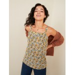 Printed Square-Neck Sleeveless Top for Women