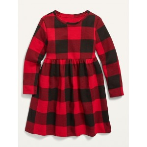 Thermal-Knit Long-Sleeve Fit & Flare Dress for Toddler Girls