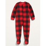 Micro Fleece Plaid Footie Pajama One-Piece for Toddler & Baby