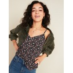 Printed Button-Front V-Neck Cami for Women