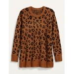 Cozy Leopard-Print Plus-Size Tunic Sweater