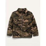 Mock-Neck Sweater-Knit Camo Zip Jacket for Toddler Boys