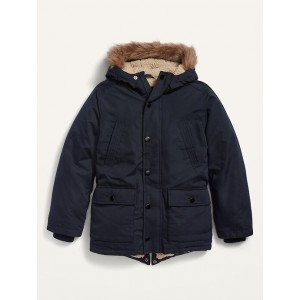 Water-Resistant Faux-Fur-Trim Hooded Parka for Toddler Boys