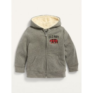 Logo-Graphic Sherpa-Lined Zip Hoodie for Toddler Boys