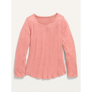 Plush-Knit Long-Sleeve Crew-Neck Tee for Girls