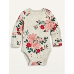 Unisex Printed Long-Sleeve Bodysuit for Baby
