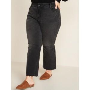 High-Waisted Secret-Slim Pockets Flare Plus-Size Cut-Off Ankle Black Jeans
