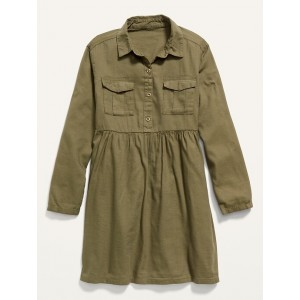 Pop-Color Twill Utility Shirt Dress for Girls