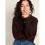 Cozy Pointelle-Knit Crew-Neck Sweater for Women
